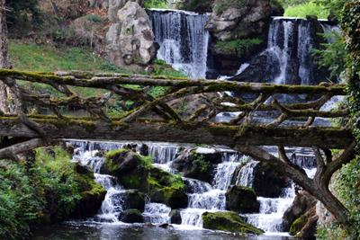 Foto einer Holzbrücke über einem Waldbach